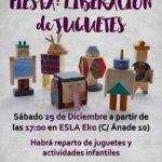 Cartel fiesta liberación de juguetes